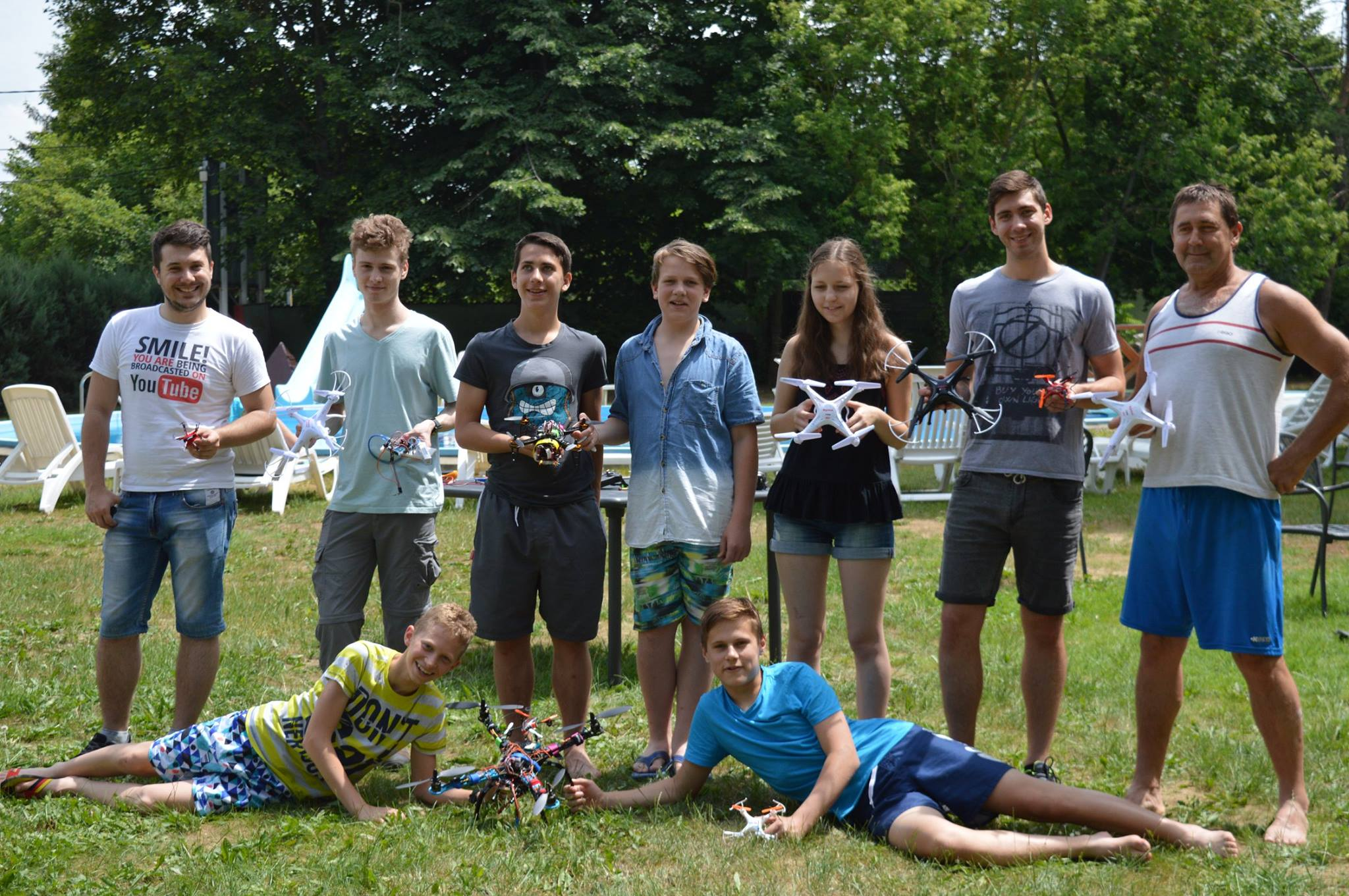 Group photo of campers with their drones