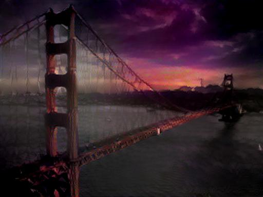 Golden bridge with the style of an apocalyptic scene from the same anime